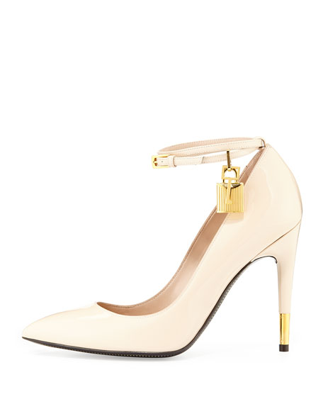 Padlock Ankle-Strap Pump, Nude
