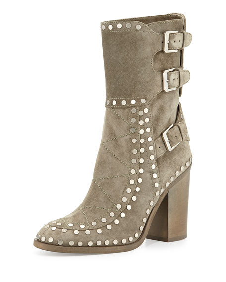Laurence Dacade Gehry Studded Suede Mid-Calf Boot, Beige