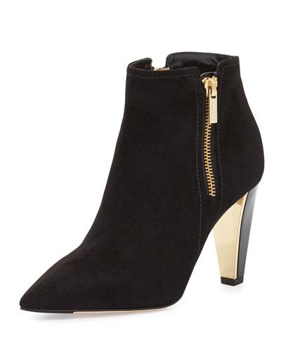 Hughie Side-Zip Suede Ankle Boot, Black