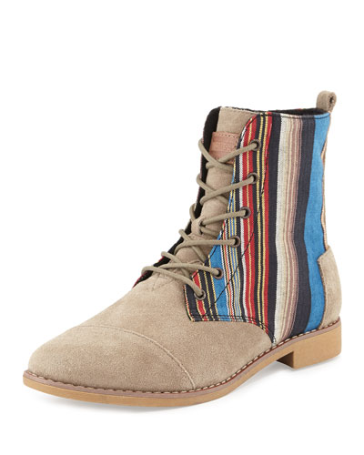 TOMS Alboot Striped Ankle Boot, Taupe