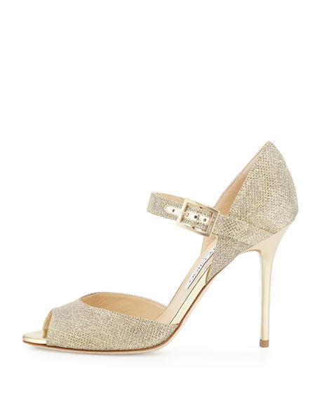 Lace Mary Jane Glitter Sandal, Pewter