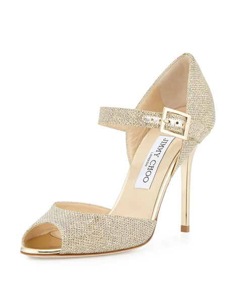 save off shop fantastic savings Jimmy Choo Lace Mary Jane Glitter Sandal, Pewter