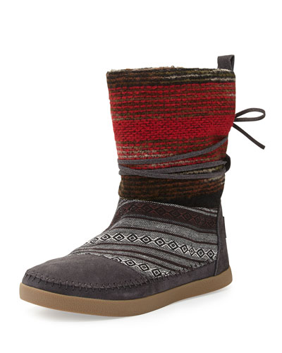 Striped Wool Nepal Boot, Gray
