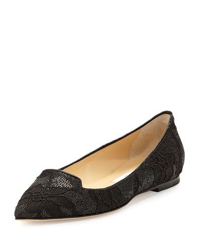 Attila Glitter Lace Flat, Black