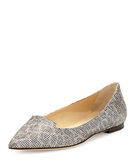 Jimmy Choo Attila Snake-Print Leather Flat
