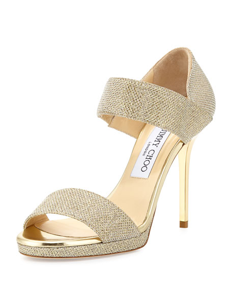 Jimmy ChooAlana Glitter Double-Band Sandal, Gold