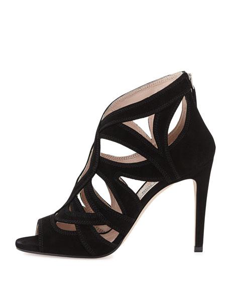 Peep-Toe Suede Keyhole Sandal, Black