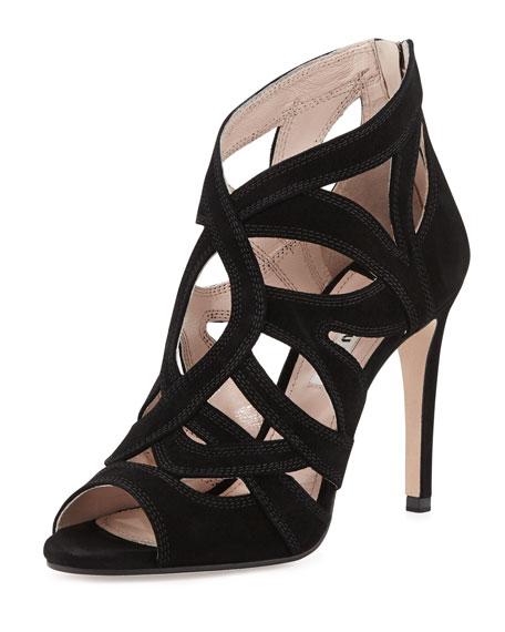 Miu Miu Peep-Toe Suede Keyhole Sandal, Black