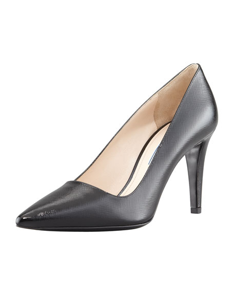 Vernice Saffiano Point-Toe Pump