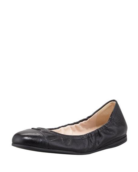 Prada Cap-Toe Ballerina Scrunch Flat, Black