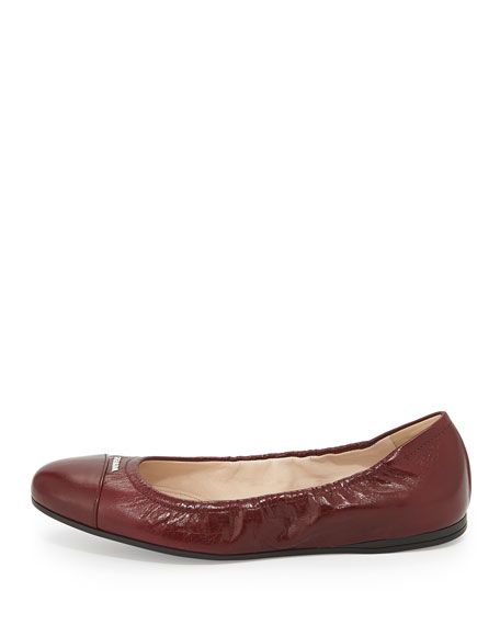 Scrunched Leather Ballerina Flat, Amaranto