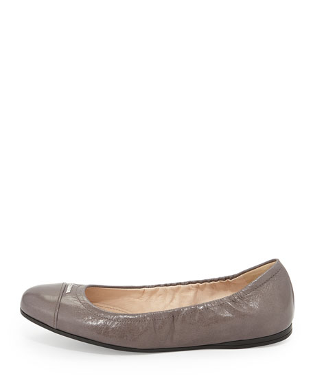 Scrunched Leather Ballerina Flat, Fumo