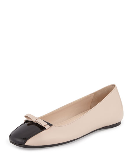 Prada Square-Toe Ballerina Flat, Cipria