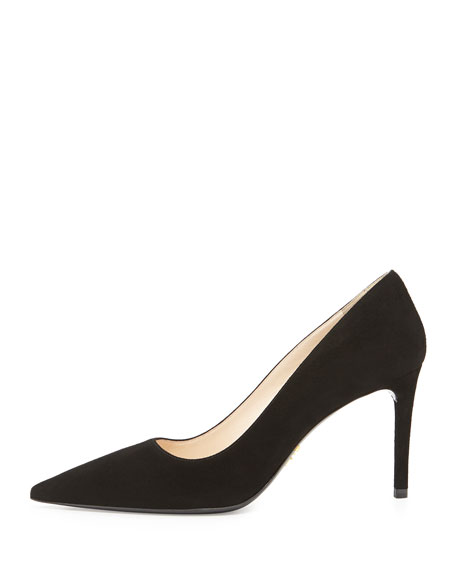 Suede Point-Toe Pump, Nero