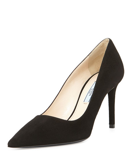 Prada Suede Point-Toe Pump, Nero
