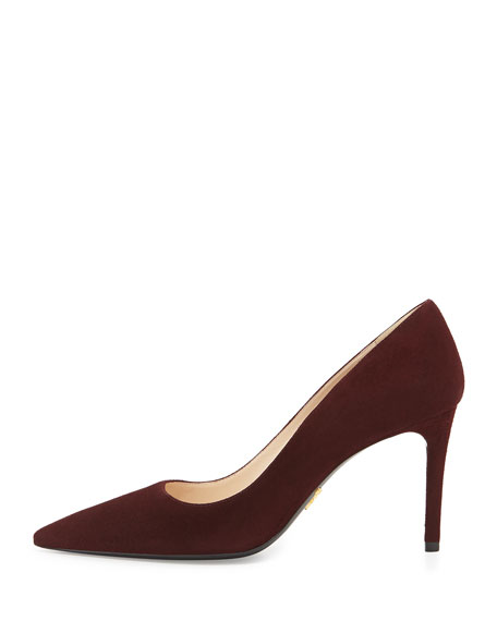 Suede Point-Toe Pump, Amaranto