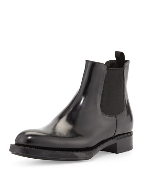 Prada Spazzolato Chelsea Boot, Black (Nero)