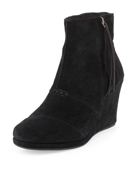 toms desert suede wedge boot black