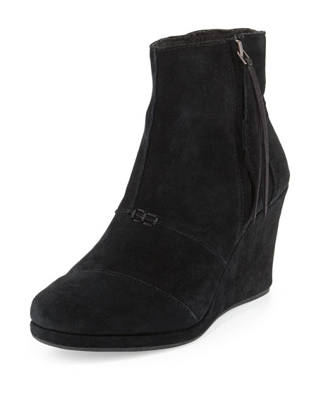 Desert Suede Wedge Boot, Black