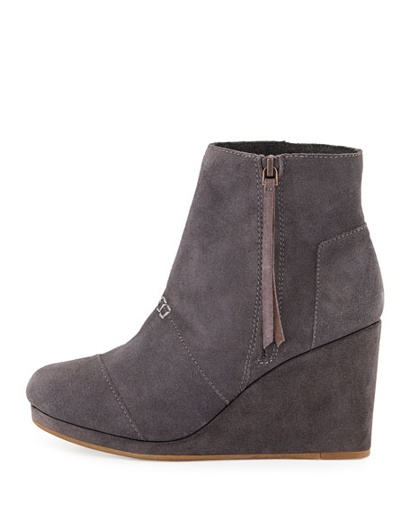 toms high wedge desert boot gray