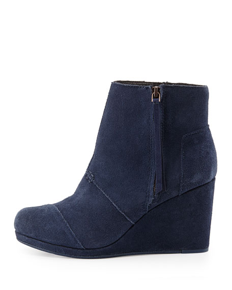 Desert Suede Wedge Boot, Navy
