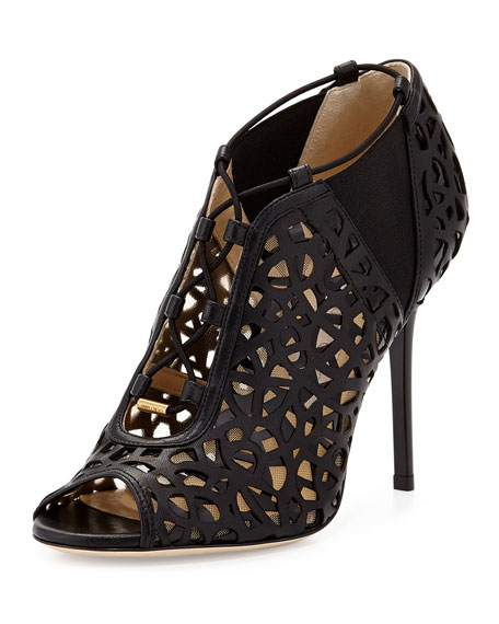 Jimmy Choo Tactic Lace-Up Cutout Bootie, Black