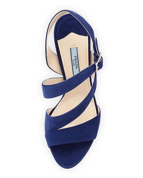Suede Triple-Strap Platform Sandal