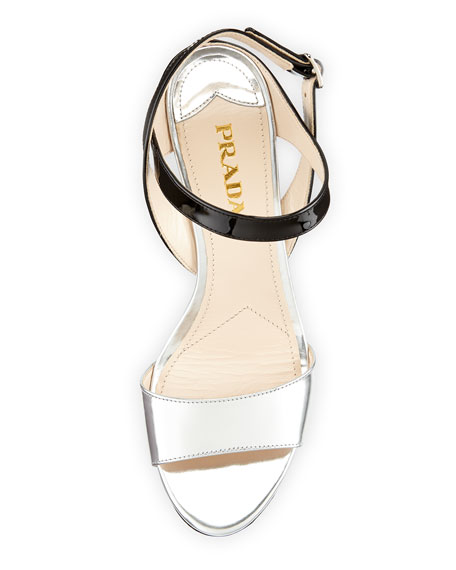 Prada specchio vernice wedge sandal - Vernice a specchio ...