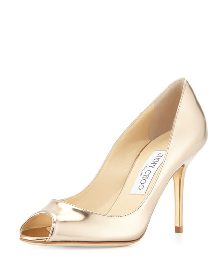 Jimmy Choo Evelyn Metallic Leather Peep-Toe Pump, Nude