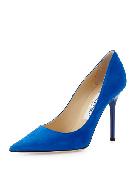 Jimmy Choo Abel Suede Point-Toe Pump, Aegean