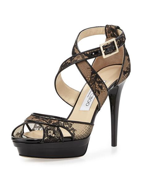 Jimmy Choo Kuki Lace Platform Sandal, Black
