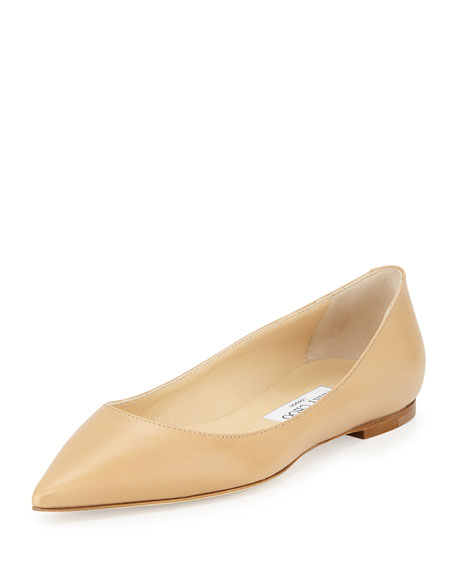 Jimmy Choo Alina Pointy Leather Flat, Nude