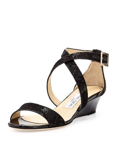 Chiara Glitter Lace Demi-Wedge Sandal, Black