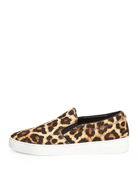 Keaton Cheetah-Print Calf Hair Slip-On Sneaker, Natural