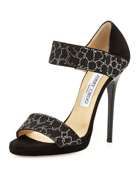 Jimmy Choo Lee Studded Double-Band Sandal, Black/Silver