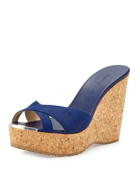 Perfume Crisscross Wedge Sandal, Cosmo