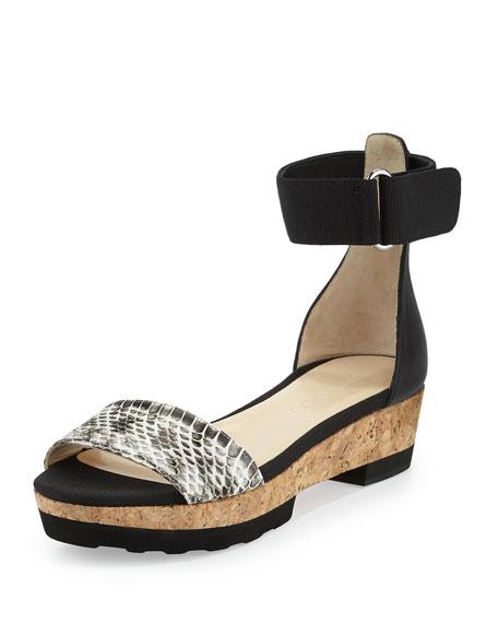 Neat Flat Platform Sandal, Natural/Black