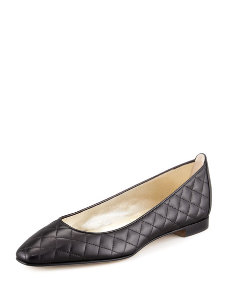 Manolo Blahnik Giungla Quilted Leather Ballerina Flat