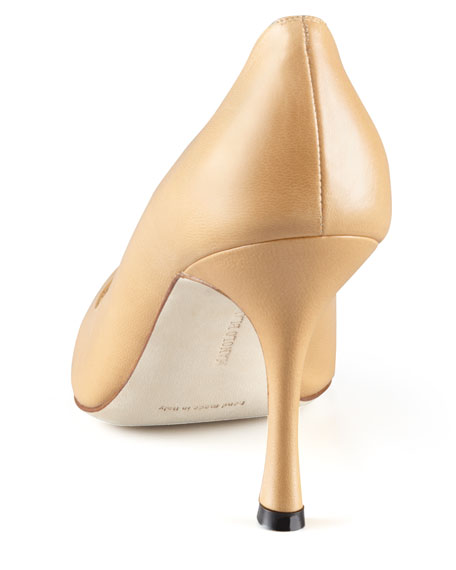 Foka Round-Toe Leather Pump, Camel