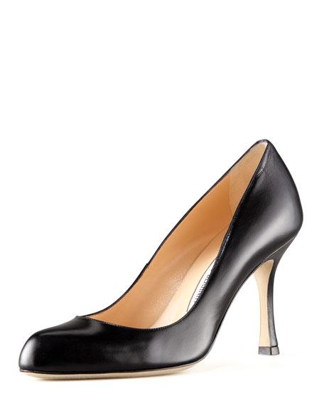 Manolo Blahnik Foka Round-Toe Leather Pump, Black