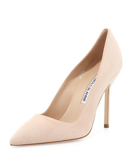 BB Suede 105mm Pump, Flesh