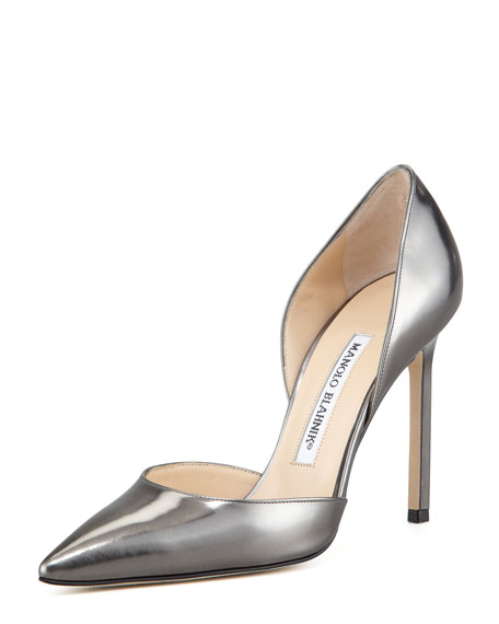 Manolo Blahnik Tayler Pointed Metallic d'Orsay, Anthracite