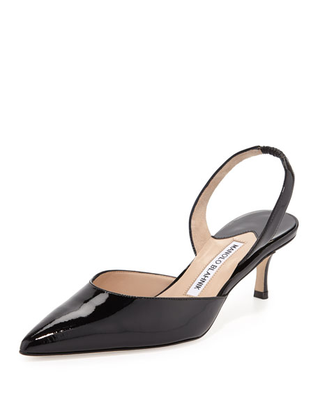 Manolo Blahnik Carolyne Patent Leather Slingback Pumps with mastercard sale online genuine for sale footaction online s1yJu