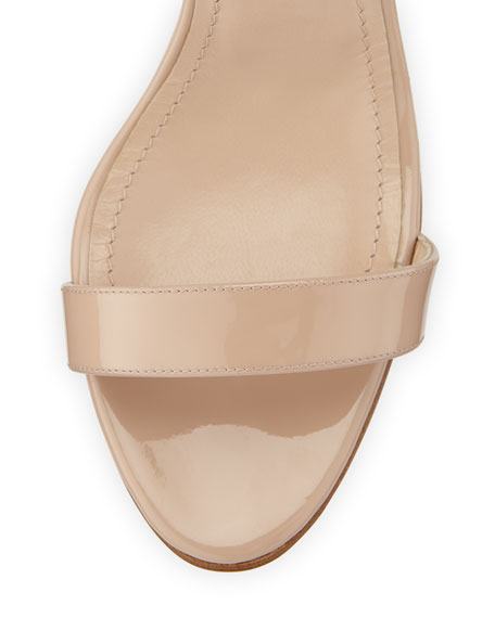 Manolo Blahnik Chaos Patent Leather Sandal, Nude