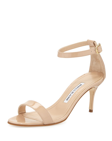 Manolo Blahnik Chaos Patent Leather Sandal, Nude