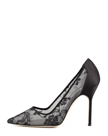 BB Lace Pointed-Toe Pump, Black