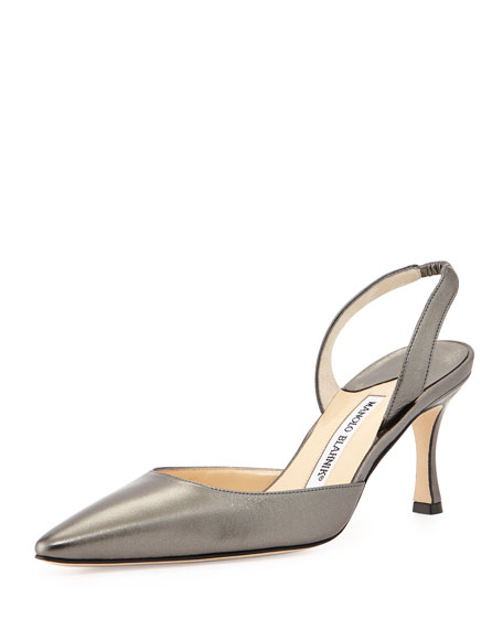 Manolo Blahnik Carolyne Metallic Low-Heel Halter Pump, Anthracite