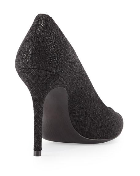 Flirt Saffiano Point-Toe Pump, Black