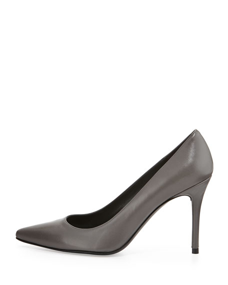 Flirt Leather Point-Toe Pump, Gray