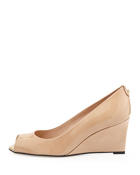 Loire Patent Peep-Toe Wedge Pump, Adobe